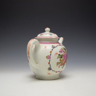 Lowestoft Rose and Cornucopia Within a Floral Garland Pattern Teapot and Cover c1775-80 (5)