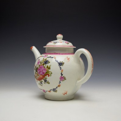 Lowestoft Rose and Cornucopia Within a Floral Garland Pattern Teapot and Cover c1775-80 (6)