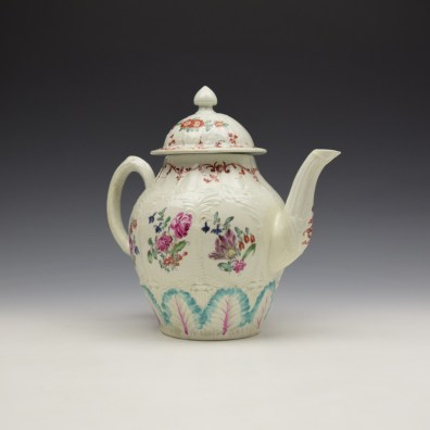 Liverpool Seth Pennington Moulded Floral Pattern Teapot and Cover c1785-95 (4)