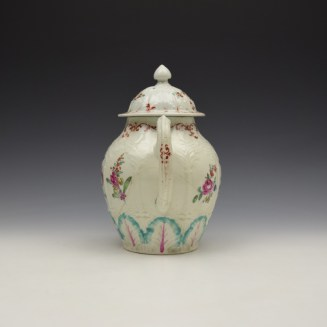 Liverpool Seth Pennington Moulded Floral Pattern Teapot and Cover c1785-95 (7)