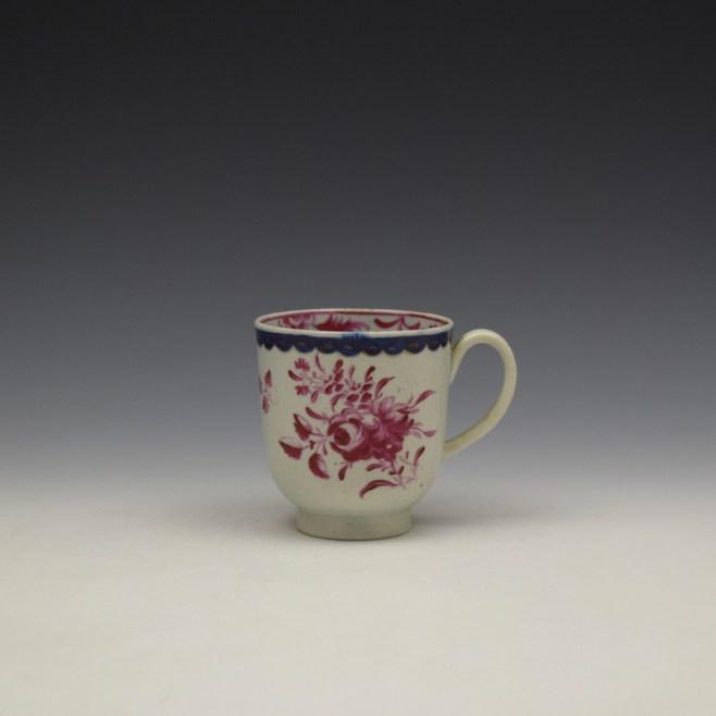 Liverpool Seth Pennington Puce Monochrome Floral Pattern Coffee Cup c1785 (1)