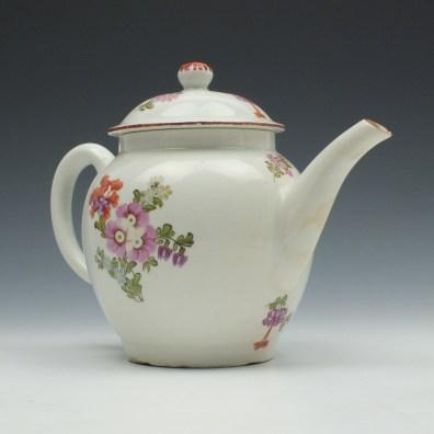 Lowestoft Porcelain Tulip Painter Teapot and Cover c1770 (3)