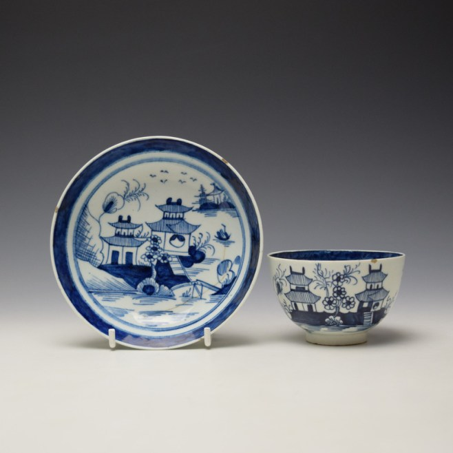 Lowestoft Two Pagoda and Cherry Tree Pattern Teabowl and Saucer c1790-95 (1)