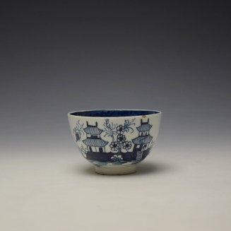 Lowestoft Two Pagoda and Cherry Tree Pattern Teabowl and Saucer c1790-95 (2)