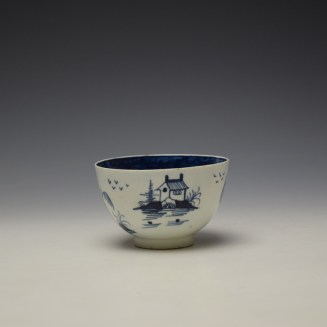 Lowestoft Two Pagoda and Cherry Tree Pattern Teabowl and Saucer c1790-95 (4)