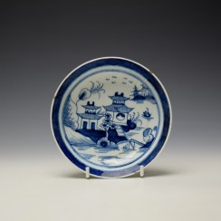 Lowestoft Two Pagoda and Cherry Tree Pattern Teabowl and Saucer c1790-95 (9)