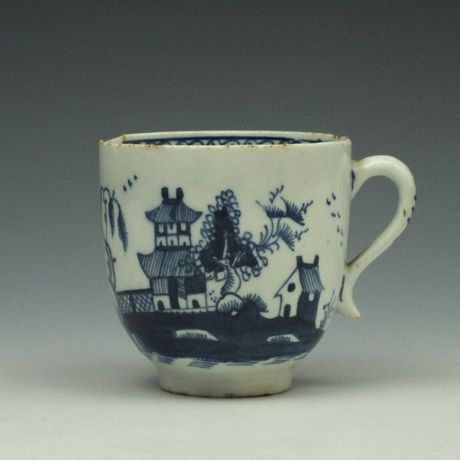 Lowestoft Two Story House and River Pattern Coffee Cup c1785-95 (1)