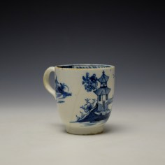 Lowestoft Gatehouse and Walled Garden Pattern Coffee Cup and Saucer c1785-90 (4)
