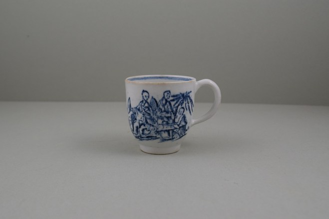 Lowestoft Porcelain Chinese Tea Party Pattern Coffee Cup, C1770 (1)