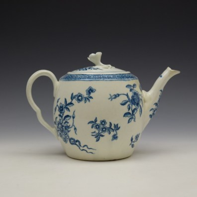 Worcester Ribbon Root Pattern Teapot and Cover c1775 (4)