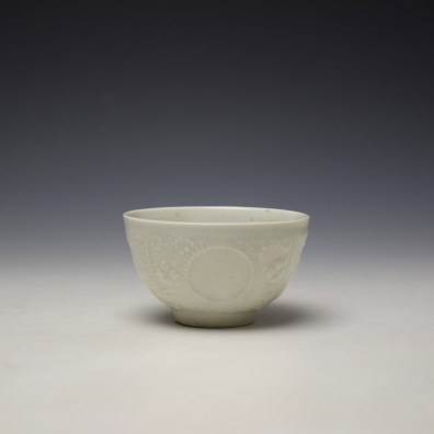 Lowestoft White Hughes Moulded Teabowl and Saucer c1762-65 (4)