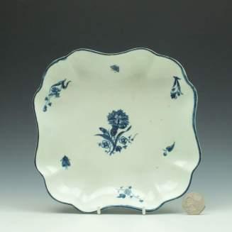 Worcester Carnation Pattern Square Dish c1775 (2)