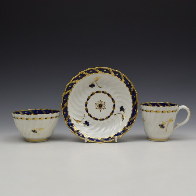 Worcester Flight Period Corn Sprigs Pattern Trio c1785 (1)