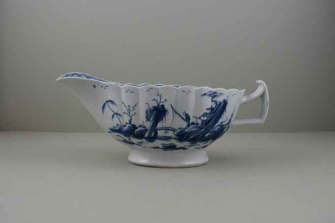 Worcester Porcelain First Period Fringed Tree Pattern Sauceboat (1)