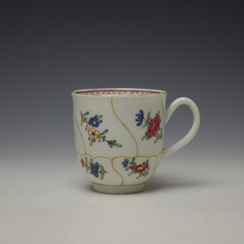 Worcester Queens Floral Pattern Coffee Cup c1765-70 (1)