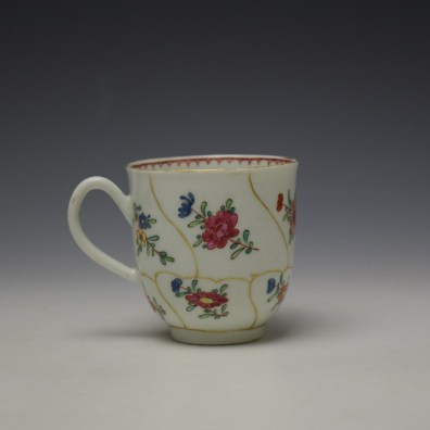 Worcester Queens Floral Pattern Coffee Cup c1765-70 (3)