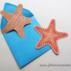 Invitation Etoile de mer (découpe forme)