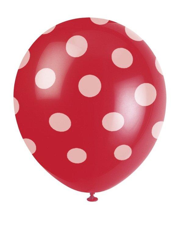 Ballons rouges à pois blancs - Fêtes vous même