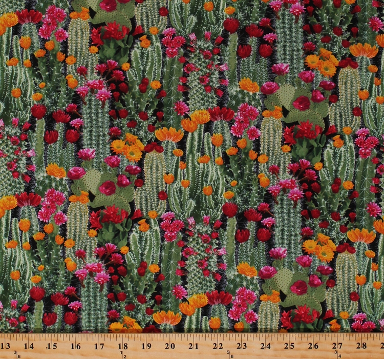 Cotton Cactus Cacti Prickly Pear Plants Floral Desert Flowers     Cotton Cactus Cacti Prickly Pear Plants Floral Desert Flowers Succulents  Nature Landscape Southwestern Cotton Fabric Print by the Yard   WEST C6178 CACTUS