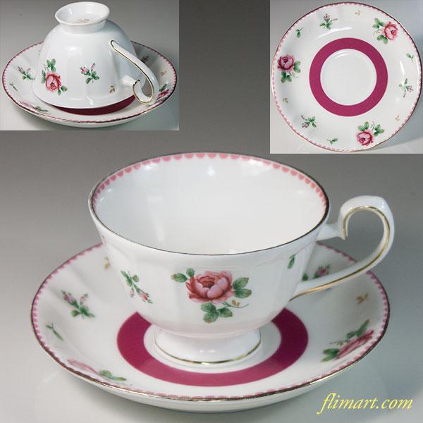 サンゴーSango花柄薔薇柄カップ&ソーサーT1849