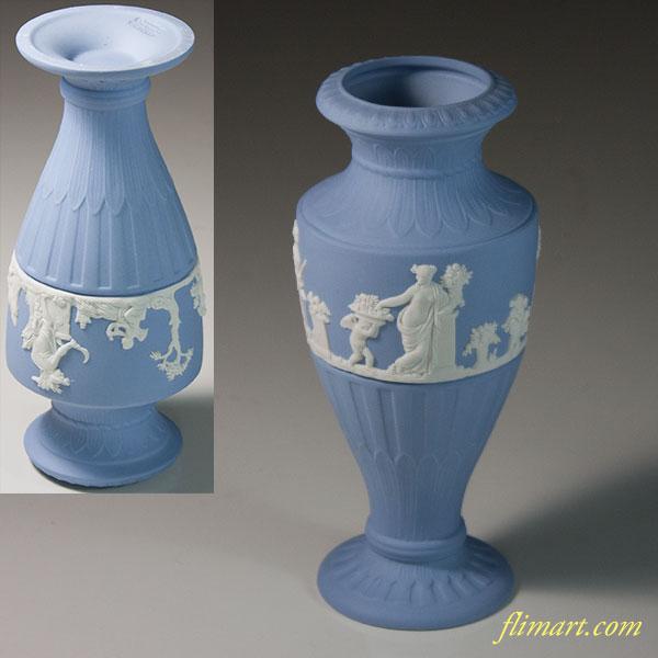ウェッジウッドジャスパーペールブルー花瓶