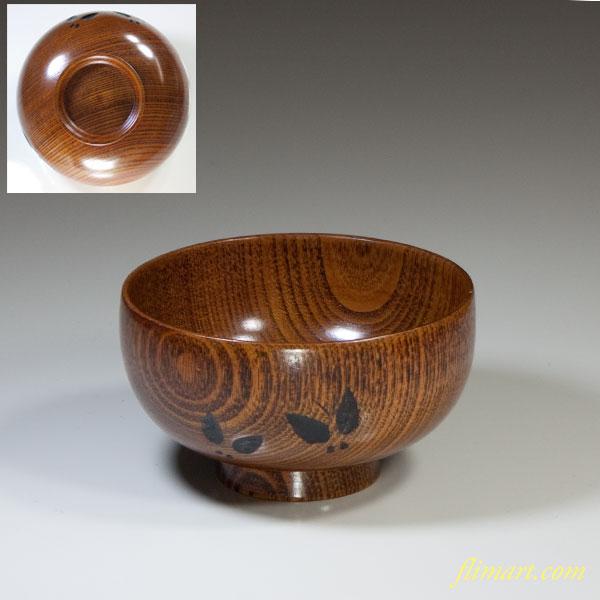 天然木漆塗汁椀W2381