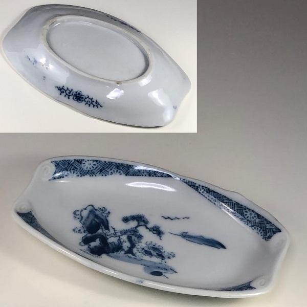 染付山水舟皿W7250