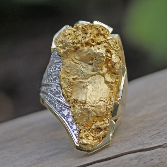 Custom Alaskan Gold Nugget And Diamond One Of A Kind Party
