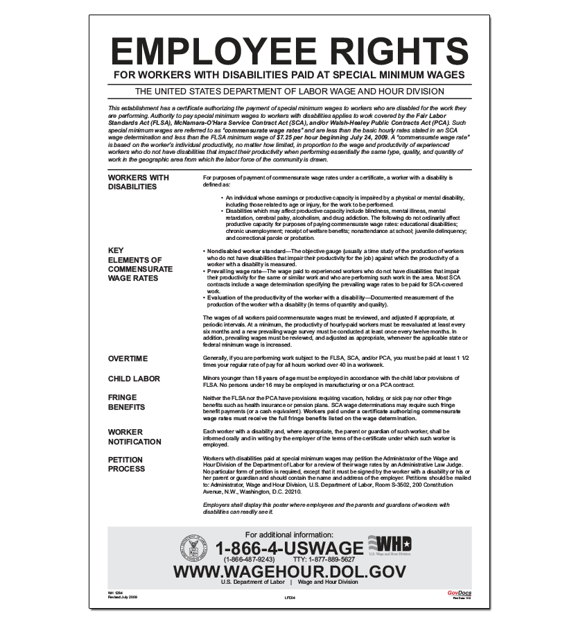 special minimum wages poster
