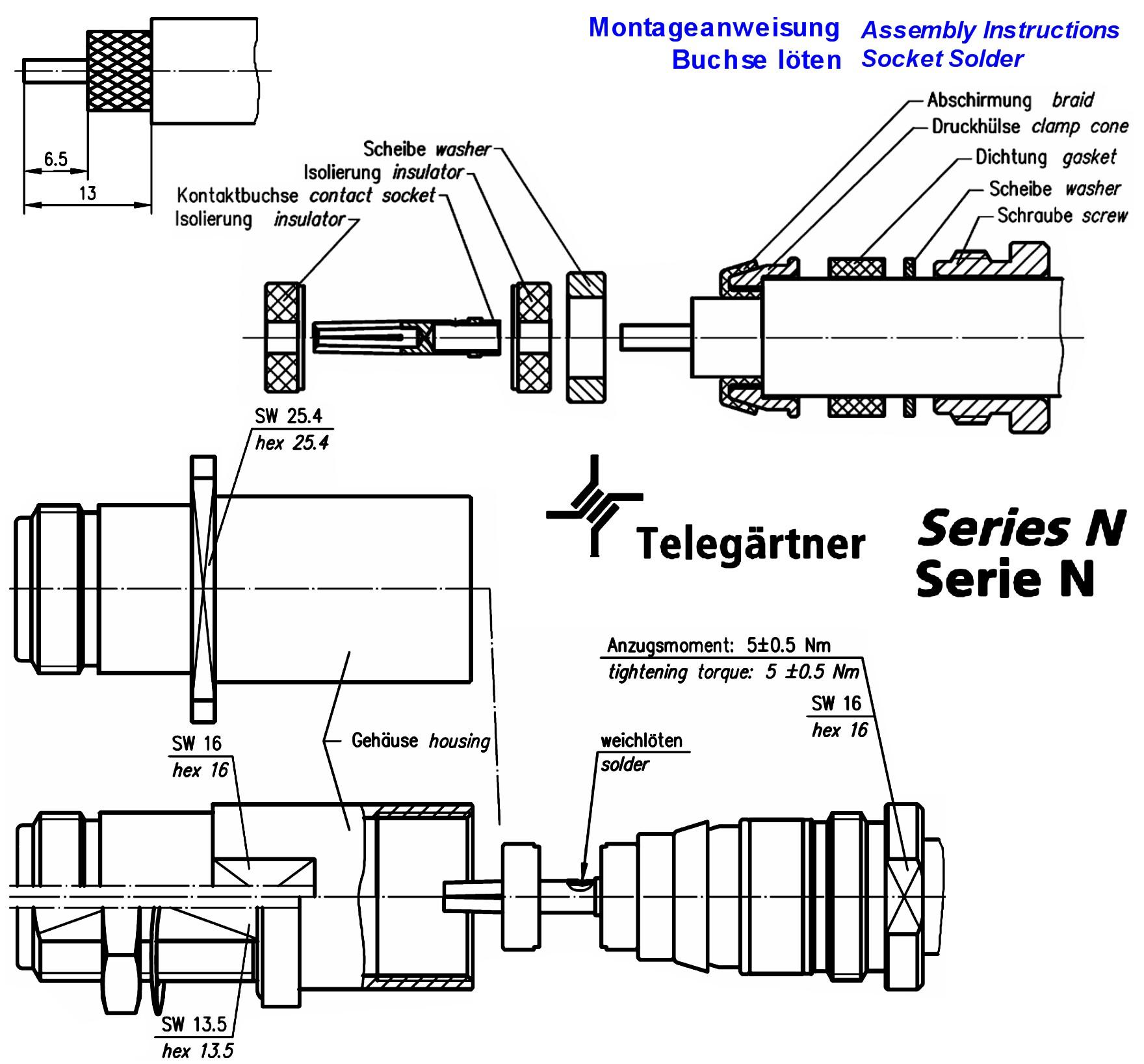 N Jack Straight Ip67 Telegaertner J H Grieder