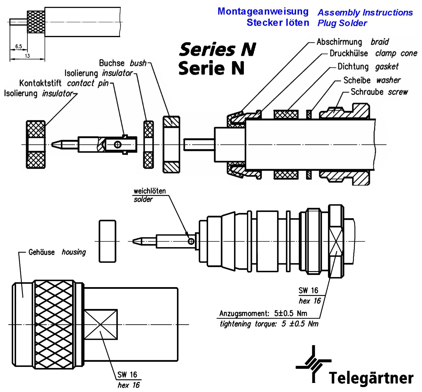N Stecker Rg213 U Rg214 U Mil Standard Ug21 U Grieder