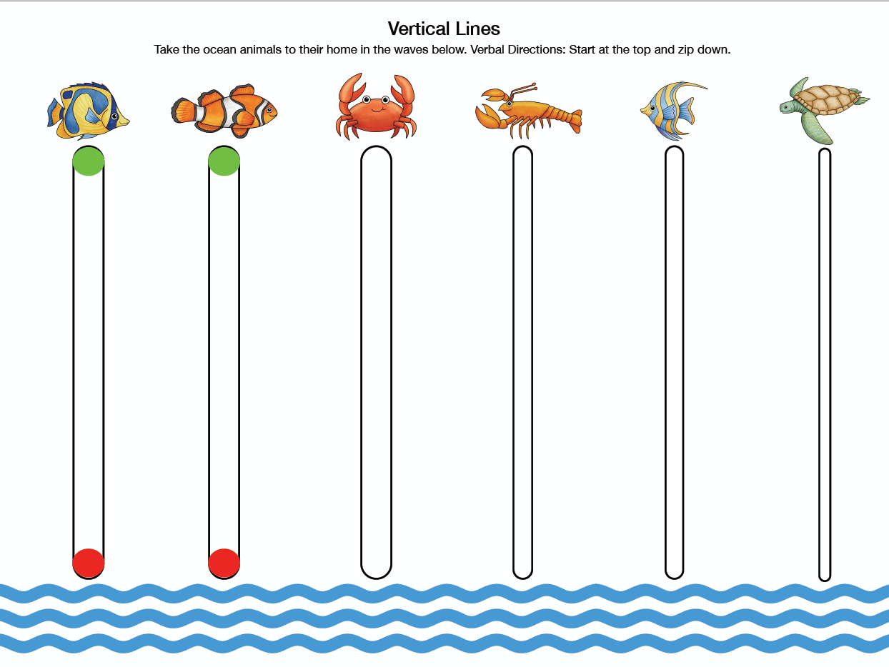 Under The Ocean Pre Writing Line Activity Packet