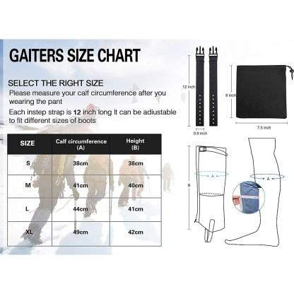 Waterproof, Breathable Leg Gaiters