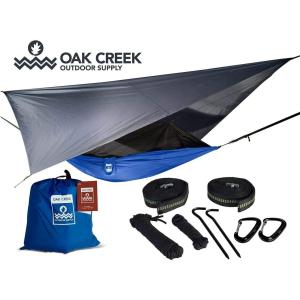 Lost Valley Camping Hammock. Bundle Includes Mosquito Net, Rain Fly, Tree Straps, & Compression Sack. Weighs Less than 2 Kilograms, Perfect for Hammock Camping. Lightweight Nylon Portable Single Hammock.