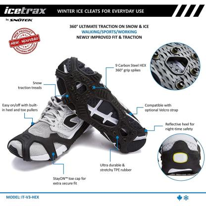 ICETRAX V3 HEX Winter Ice Grips for Shoes and Boots - Ice Cleats for Snow and Ice, StayON Toe, Reflective Heel