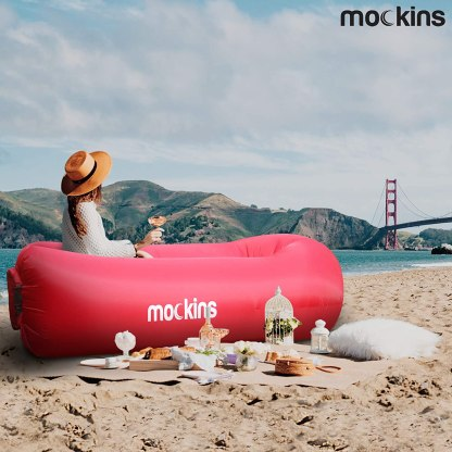 Mockins 2 Pack Navy & Red Inflatable Lounger Air Sofa Perfect for Beach Chair Camping Chairs or Portable Hammock and Includes Travel Bag Pouch and Pockets   Easy to Use Camping Accessories