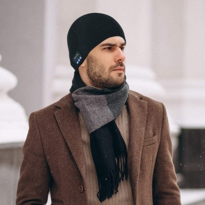 Bluetooth Hat, Bluetooth Beanie Gifts for Men Winter Knitted Beanie with Wireless Stereo Headphone for Running Hiking, Thanksgiving Day, Birthday Day, for Men Women