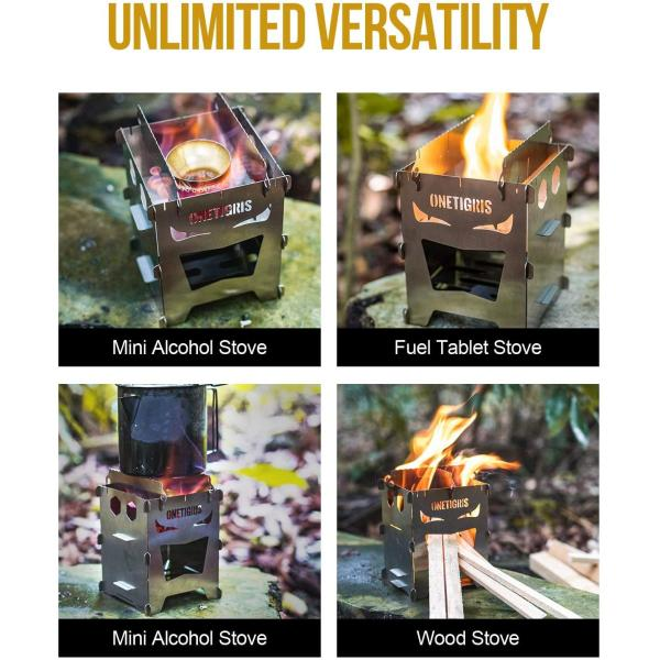 OneTigris Camping Backpacking Stove Portable Foldable Burning Wood Stove for Outdoor Hiking Picnic BBQ,Stainless Steel (Medium)