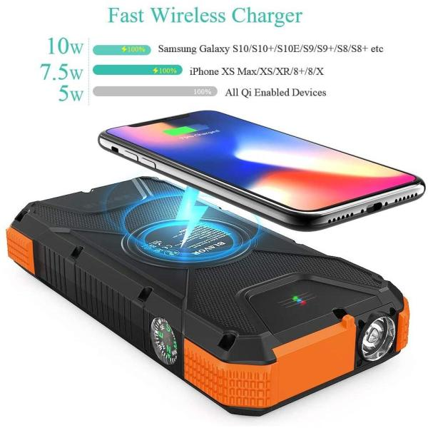 Solar Charger Power Bank 18W, QC 3.0 Portable Wireless Charger 10W/7.5W/5W with 4 Outputs & Dual Inputs, 20000mAh External Battery Pack IPX5 Waterproof with Flashlight & Compass