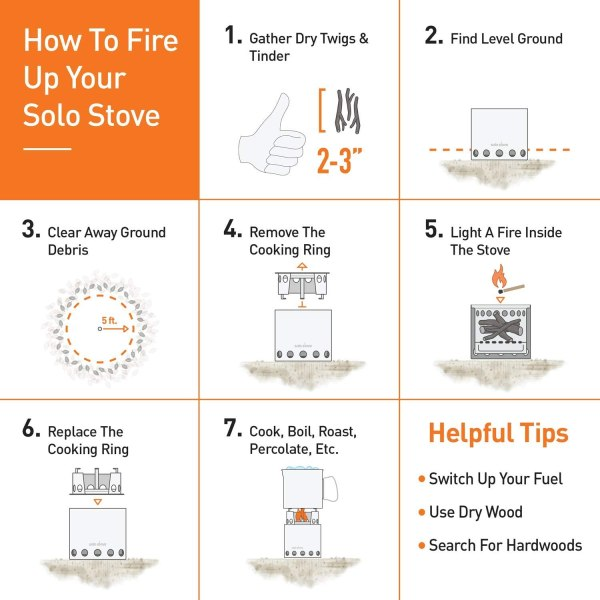 Solo Stove Titan - 2-4 Person Lightweight Wood Burning Stove. Compact Camp Stove Kit for Backpacking, Camping, Survival. Burns Twigs