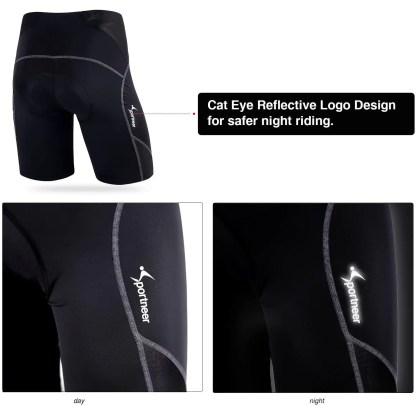Sportneer Men's Cycling Shorts Biking Bike Bicycle Pants Half Pants 4D Coolmax Padded, Comfort, Anti-Slip Design, Breathable & Absorbent