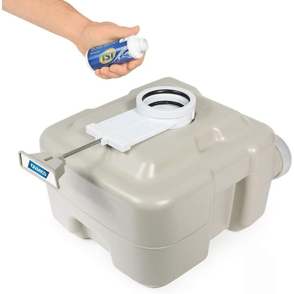 Camco 41541 Standard Portable Travel Toilet, Designed for Camping, RV, Boating And Other Recreational Activites (5.3 gallon), White