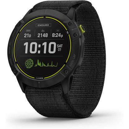 Garmin Enduro, Ultraperformance Multisport GPS Watch, Solar Charging, Battery Life Up to 80 Hours in GPS Mode, Carbon Gray DLC Titanium with Black UltraFit Nylon Band