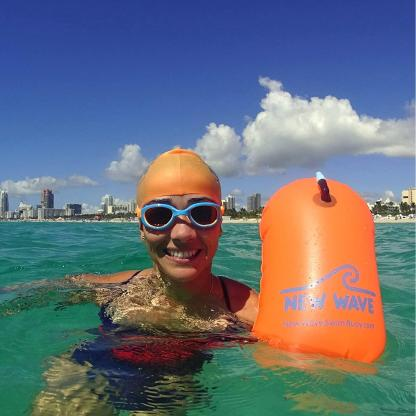 New Wave Swim Bubble for Open Water Swimmers Triathletes - Swim Safety Buoy & Tow Float