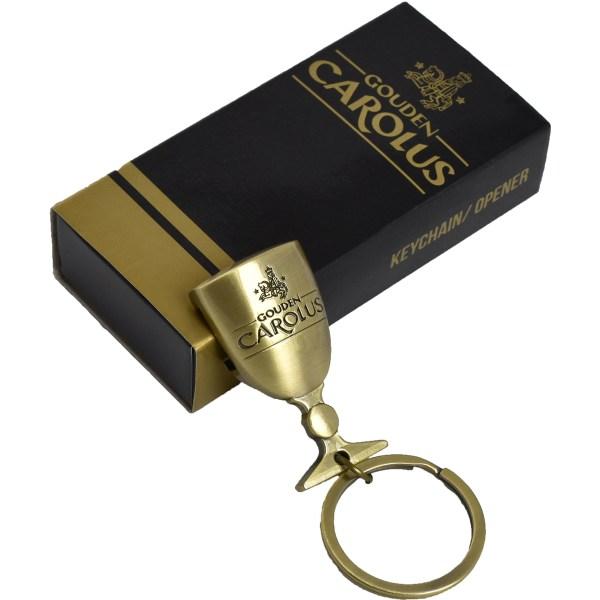 Gouden Carolus Sleutelhanger flessenopener op zwart doosje
