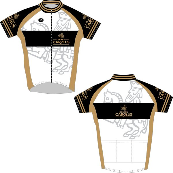 Voor- en achterkant van het Gouden Carolus wielertruitje