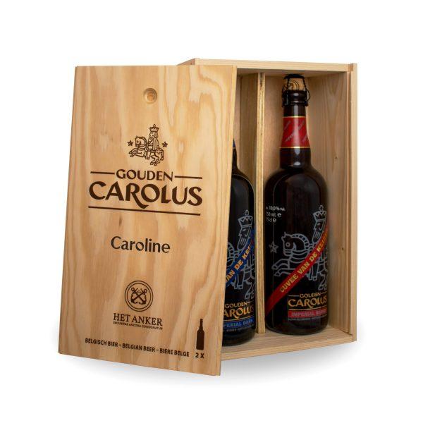 Gepersonaliseerde houten kist Gouden Carolus Imperial Dark + Blond 2x75cl - Binnenzijde
