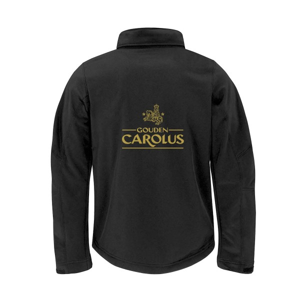 Gouden Carolus with the inscription STRONG BELGIAN (M)ALE black Softshell Jacket
