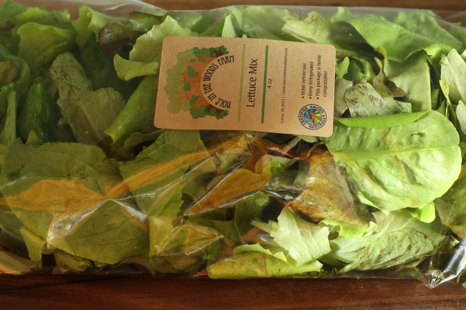Compostable cellophane bag of lettuce mix