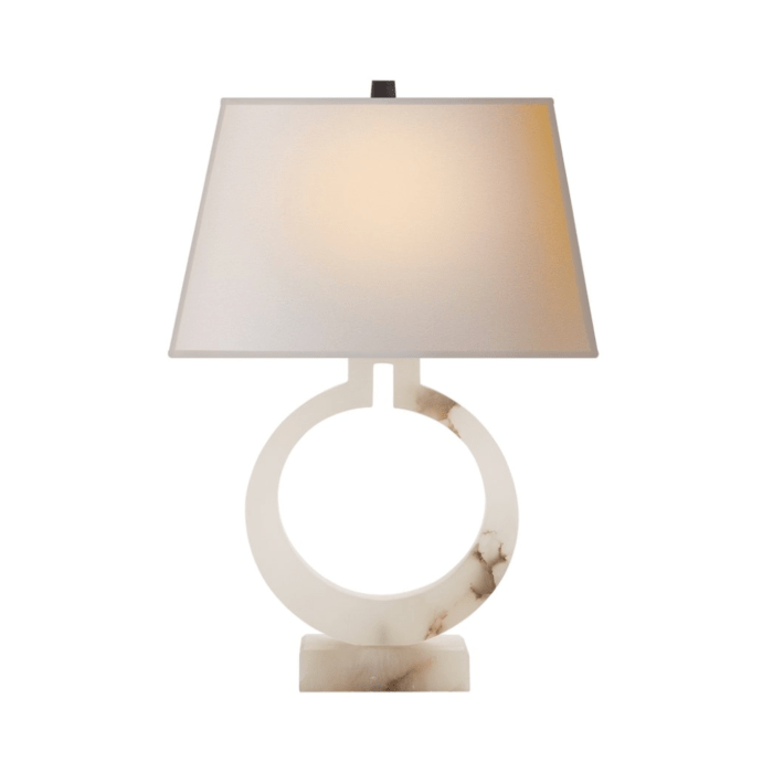 Visual Comfort E.F. Chapman Modern Ring Alabaster Table Lamp with Tapered Rectangle Shade